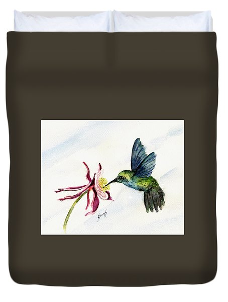 Green Violet-ear Hummingbird Duvet Cover