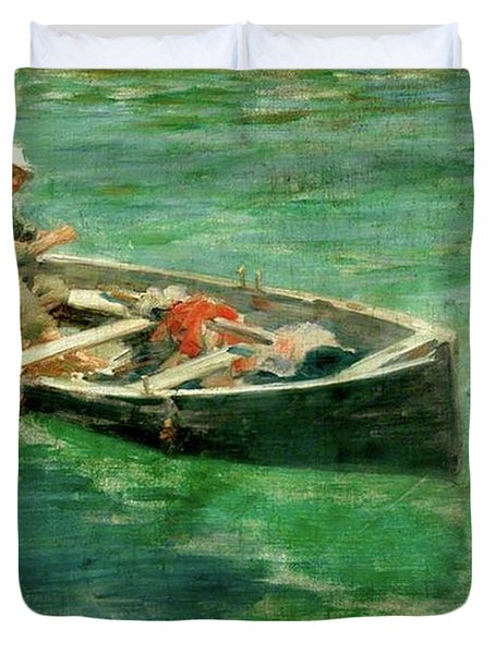 Duvet Cover featuring the painting Green Waters by Henry Scott Tuke
