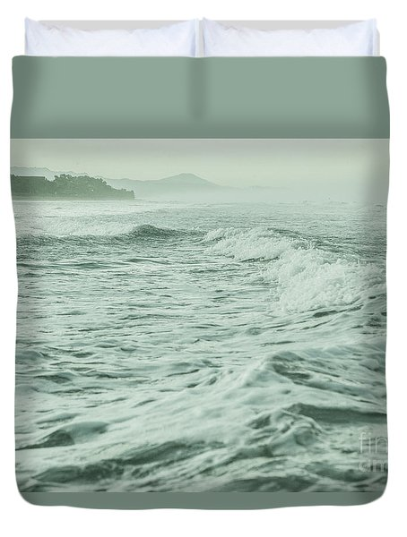 Green Waves Duvet Cover by Iris Greenwell