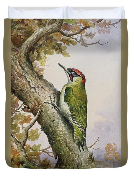 Green Woodpecker Duvet Cover by Carl Donner
