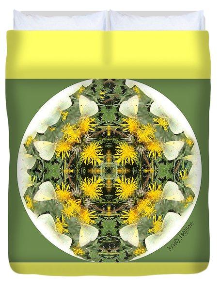 Green Yellow Kaleidoscope Duvet Cover