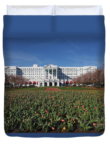 Duvet Cover featuring the photograph Greenbrier Resort by Laurinda Bowling