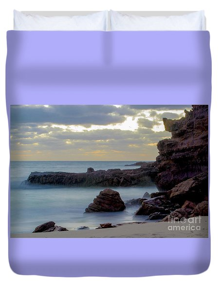 Duvet Cover featuring the photograph Greenglades Beach Morning by Angela DeFrias