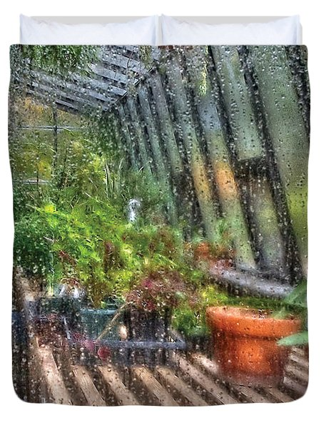 Greenhouse - In A Greenhouse Window  Duvet Cover by Mike Savad