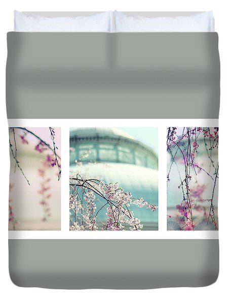 Duvet Cover featuring the photograph Greenhouse Blossoms Triptych by Jessica Jenney