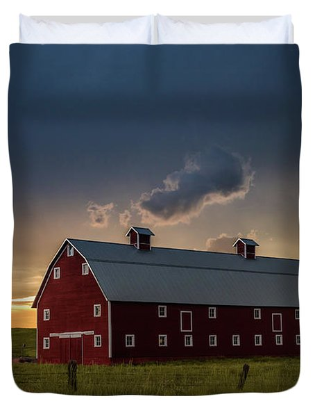 Greenland Barn During A Severe Summer Storm Duvet Cover