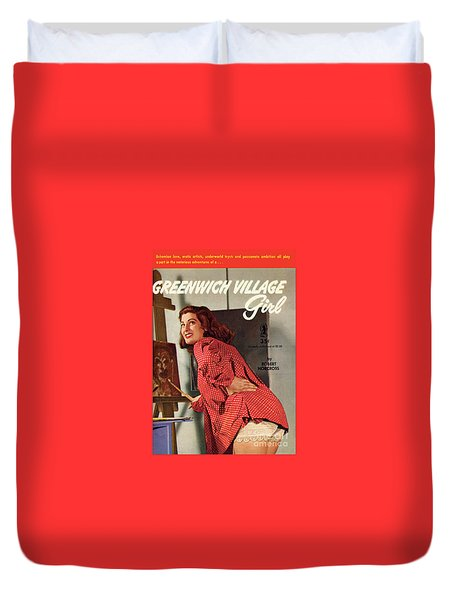 Duvet Cover featuring the painting Greenwich Village Girl by Photo Cover