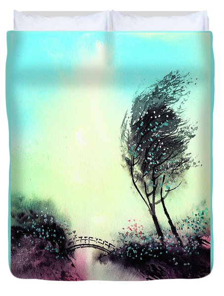 Duvet Cover featuring the painting Greeting 1 by Anil Nene