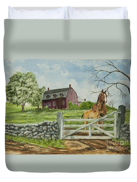 Greeting At The Gate Duvet Cover by Charlotte Blanchard