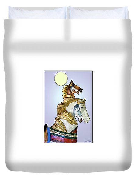 Greeting The Moon Duvet Cover by Lise Winne