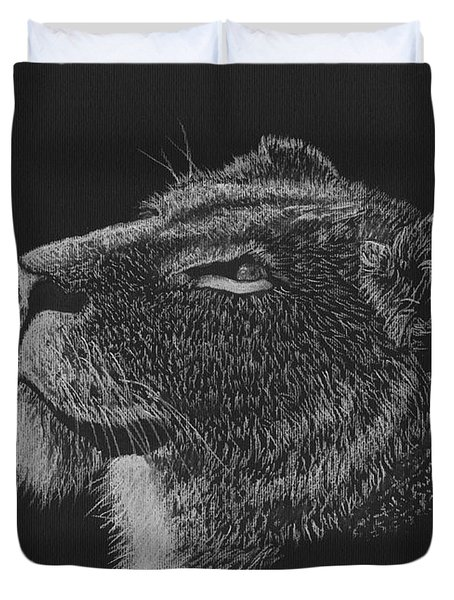 Greeting The Morning Sun - Black And White Lioness Drawing Duvet Cover