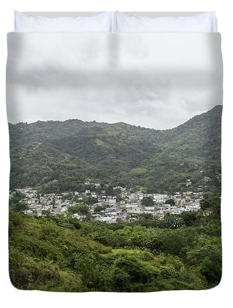 Duvet Cover featuring the photograph Greetings From My Hometown by Jose Oquendo