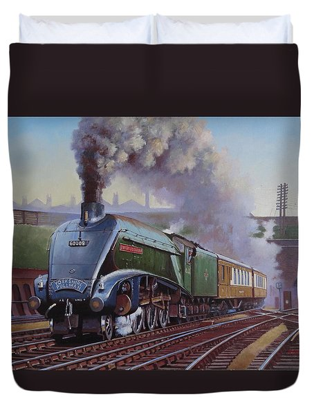 Duvet Cover featuring the painting Gresley Pacific A4 Class. by Mike  Jeffries