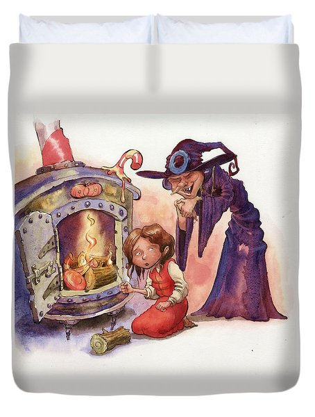 Gretel And Witch Duvet Cover