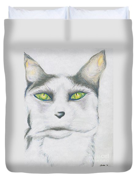 Duvet Cover featuring the drawing Gretta by Kim Sy Ok