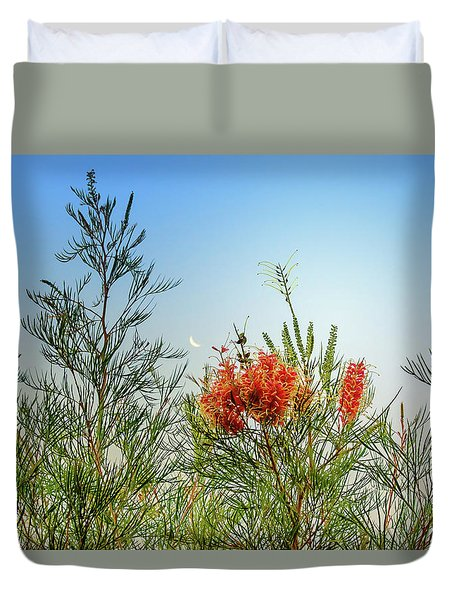 Grevillea With Moon Duvet Cover