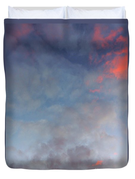 Duvet Cover featuring the photograph Pink Flecked Sky by Linda Hollis