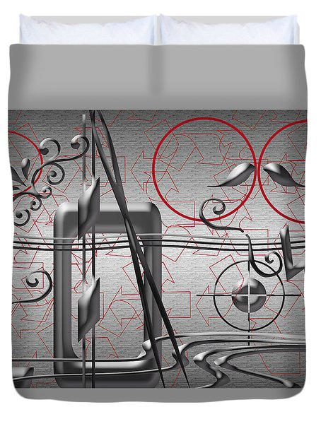 Grey And Red Circles Duvet Cover