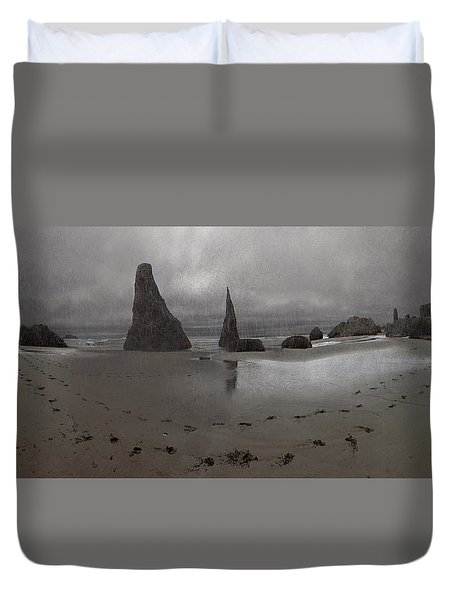 Grey Beach Panorama Duvet Cover by Adria Trail