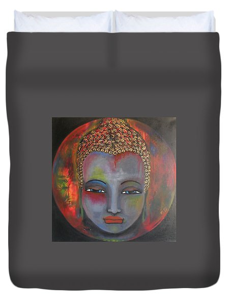 Duvet Cover featuring the painting Grey Buddha In A Circular Background by Prerna Poojara