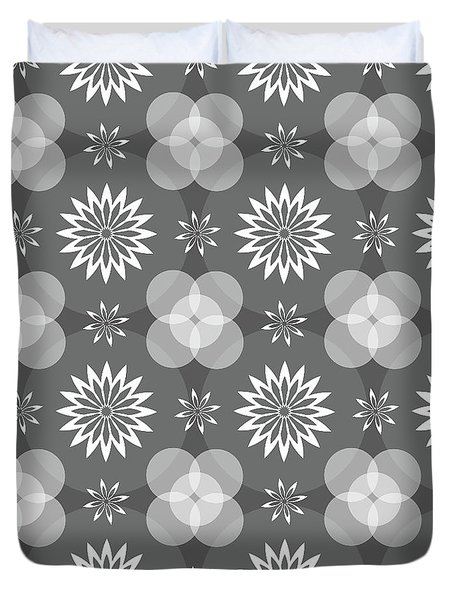 Grey Circles And Flowers Pattern Duvet Cover
