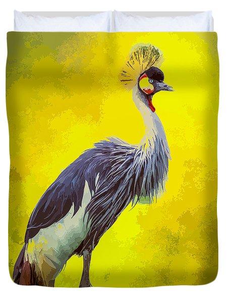 Grey Crowned Crane Duvet Cover