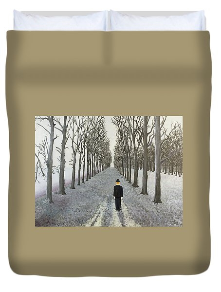 Duvet Cover featuring the painting Grey Day by Thomas Blood
