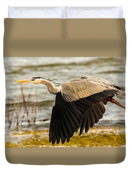 Grey Heron In Flight Duvet Cover