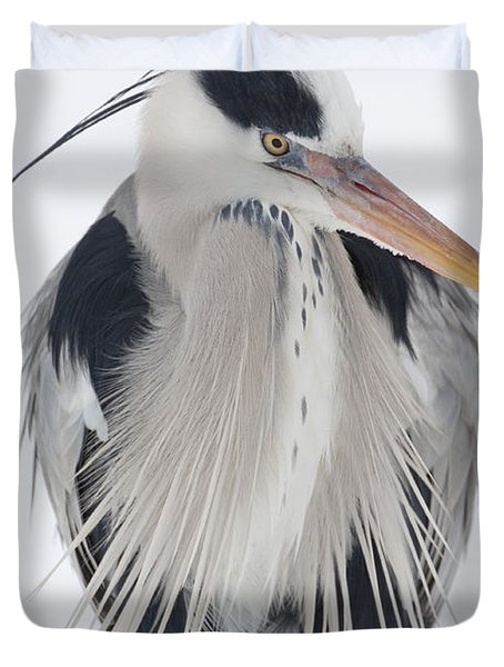 Grey Heron In The Snow Duvet Cover