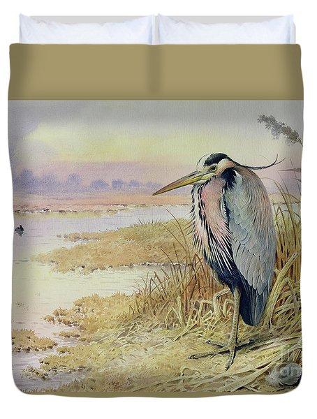 Grey Heron Duvet Cover by John James Audubon