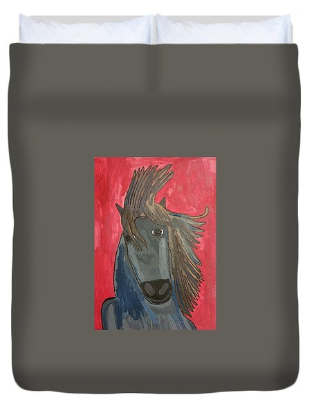 Grey Horse Duvet Cover by Artists With Autism Inc