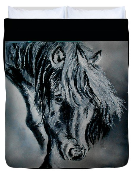 Grey Horse Duvet Cover by Maris Sherwood