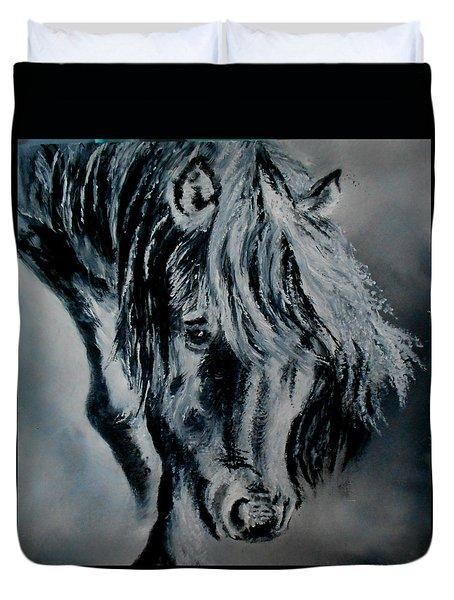 Grey Horse Duvet Cover