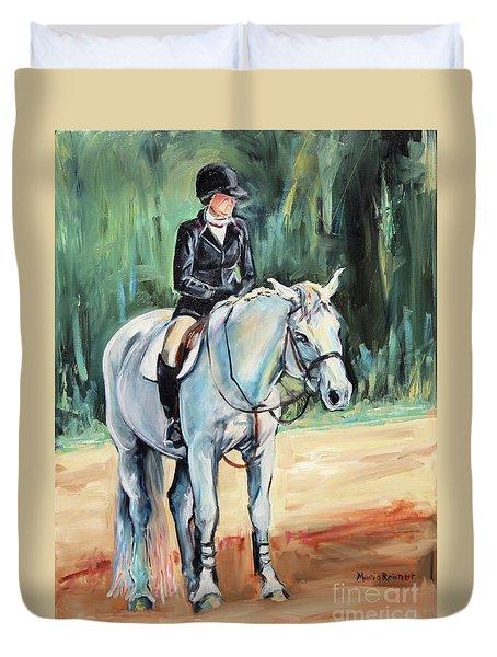 Grey Hunt Seat Horse Duvet Cover