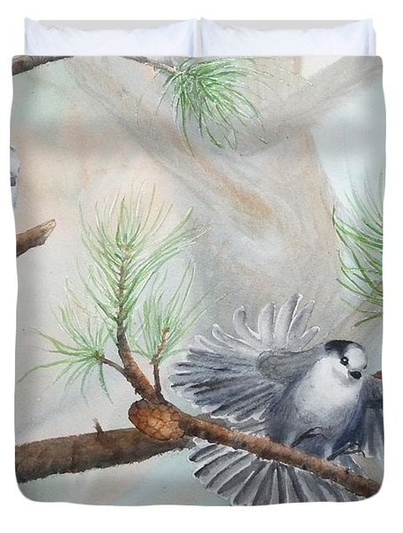 Grey Jays In A Jack Pine Duvet Cover