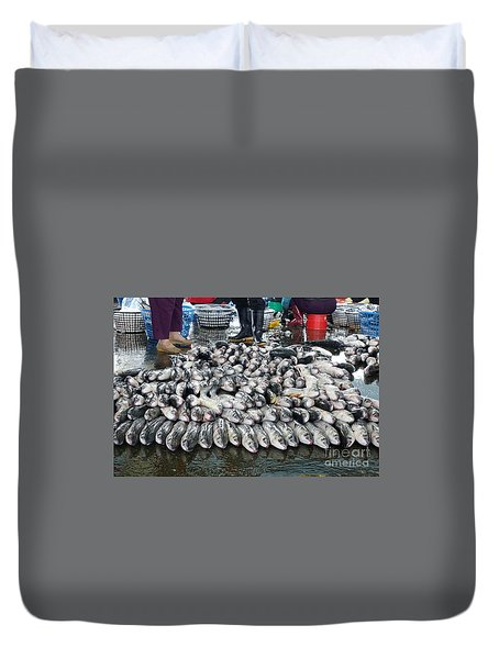 Duvet Cover featuring the photograph Grey Mullet Fish For Sale At The Fish Market by Yali Shi