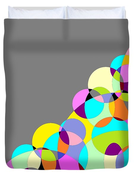 Grey Multicolored Circles Abstract Duvet Cover