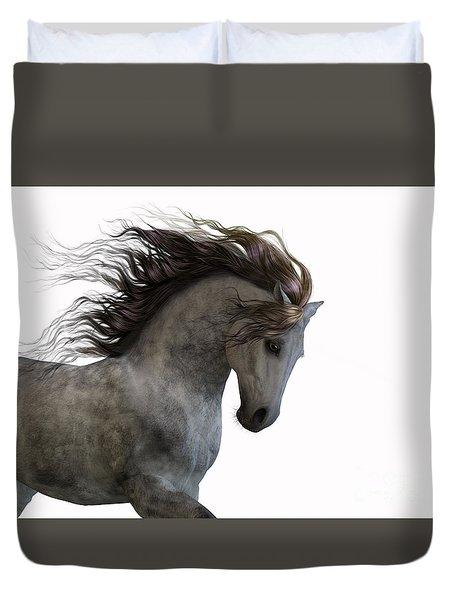Grey On White Duvet Cover