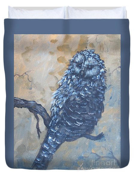 Duvet Cover featuring the painting Grey Owl1 by Laurianna Taylor