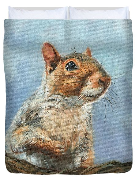 Duvet Cover featuring the painting Grey Squirrel by David Stribbling