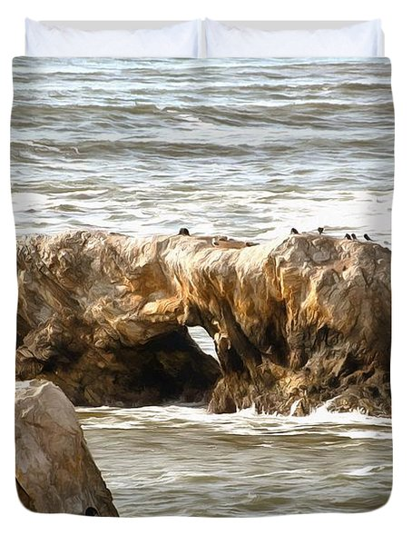 Duvet Cover featuring the photograph Grey Water At Window Rock by Barbara Snyder
