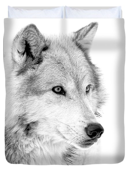 Grey Wolf Profile Duvet Cover by Athena Mckinzie