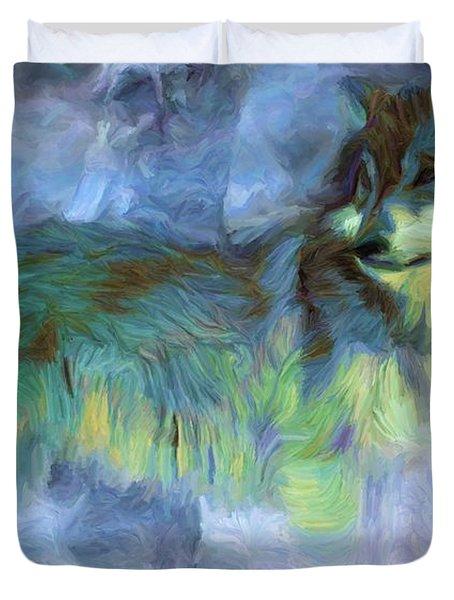 Grey Wolves In Snow Duvet Cover