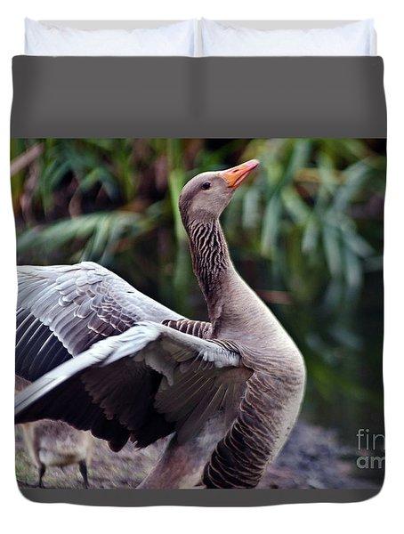 Greylag Goose Poetry Duvet Cover