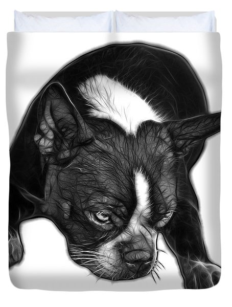 Greyscale Boston Terrier Art - 8384 - Wb Duvet Cover by James Ahn