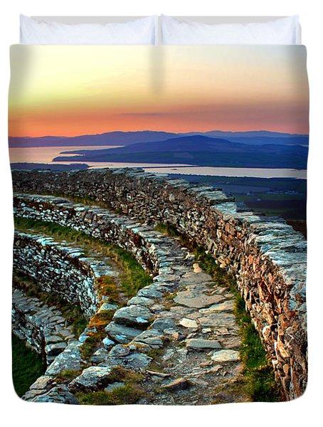 Grianan Fort Sunset Duvet Cover