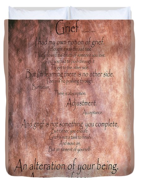 Duvet Cover featuring the mixed media Grief 1 by Angelina Vick