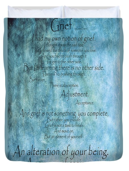 Duvet Cover featuring the mixed media Grief 2 by Angelina Vick