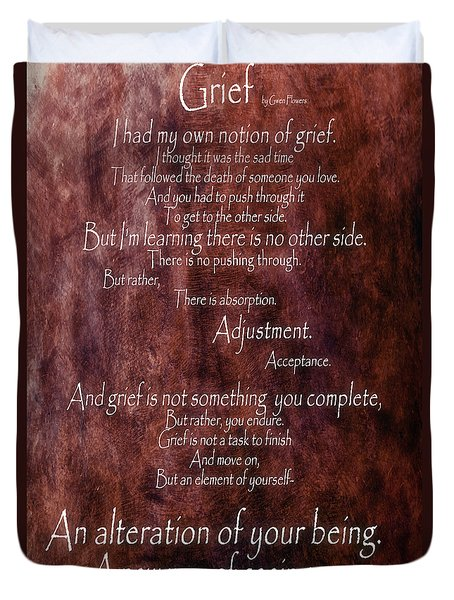 Duvet Cover featuring the mixed media Grief 3 by Angelina Vick