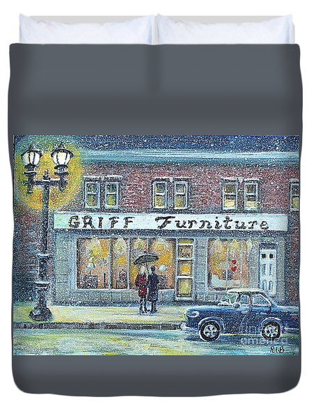 Duvet Cover featuring the painting Griff Furniture by Rita Brown